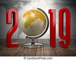 2019 happy new year globe.