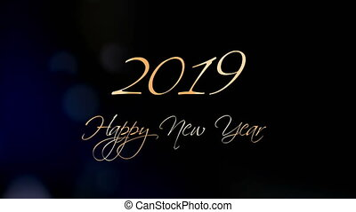 2019. Happy New Year Greeting Beautiful Text Animation
