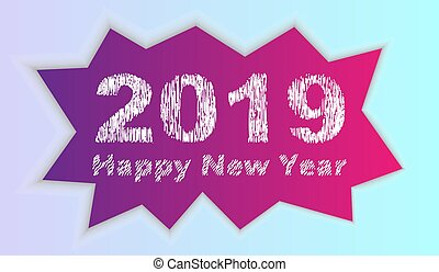 2019 Happy new year inscription on the background of broken ice. Vector illustration.