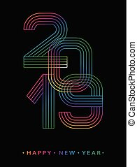 2019 Happy new year. Numbers minimalist style. Vector linear numbers. Design of greeting card. Vector illustration