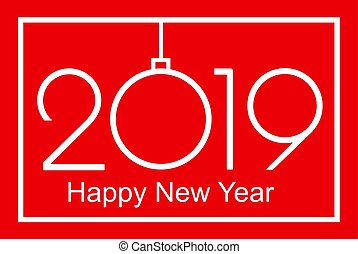 2019 Happy New Year or Christmas Background creative greeting card design, can be used for flyers, invitation, posters, banners, calendar. Simple Vector Template. Isolated illustration.