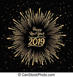 2019 Happy New Year radial grungy vector star burst - 2019...