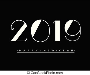 2019 Happy new year Text Design Vector illustration. Banner with 2019 Numbers on black Background. Numbers minimalist style. Design of greeting card