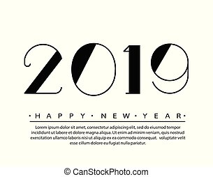 2019 Happy new year Text Design Vector illustration. Banner with 2019 Numbers on white Background. Numbers minimalist style. Design of greeting card
