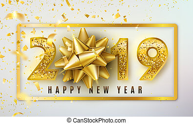 2019 happy new year vector background with golden gift bow confetti shiny glitter gold