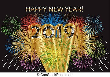 2019 happy new year with fireworks