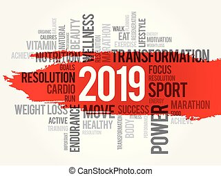 2019 health and sport goals word cloud