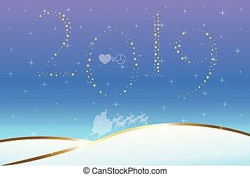 2019, hecho, amor, paz, estrellas