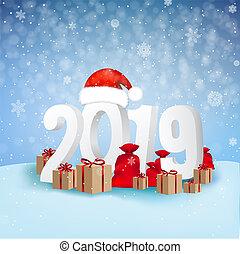 2019, hintergrund, jahr, neu , karte, glücklich