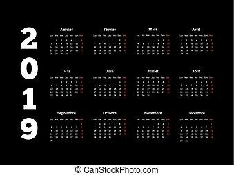 2019, jaar, eenvoudig, witte , kalender, op, frans, op,...
