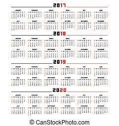 2019, kalender, 2017, 2020, 2018