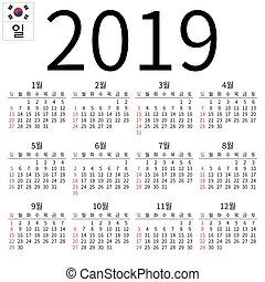 2019, kalender, söndag, koreansk