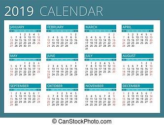 2019., kalender, sunday., vektor, startar, enkel, vecka, design.