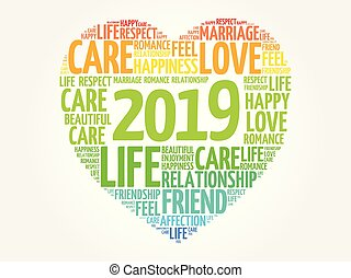 2019 Love and Happy concept, heart word cloud collage...