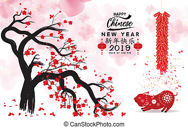 2019, lunar, año, nuevo, feliz, year., chino, medio, pig., ...
