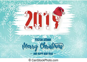 2019 Merry christmas background with snowflake and Santa Claus hat vector