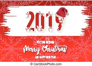 2019 Merry christmas red background with snowflake and Santa Claus hat vector