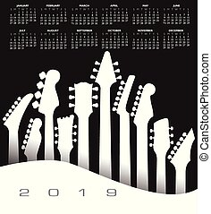 2019 musical calendar with a guitar