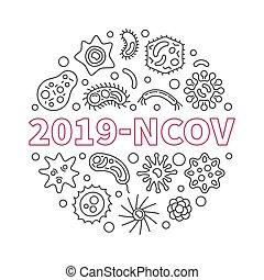 2019-ncov, ilustración, circular, vector, lineal, concepto, ...
