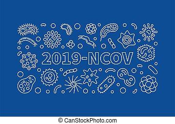 2019-ncov, ilustración, contorno, vector, horizontal, ...