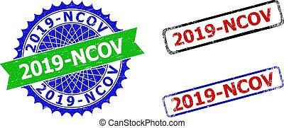2019-NCOV Rosette and Rectangle Bicolor Stamps with Unclean Textures