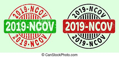 2019-NCOV Rounded Bicolour Watermarks - Corroded Surface