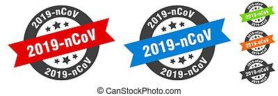 2019-ncov stamp. 2019-ncov round ribbon sticker. tag