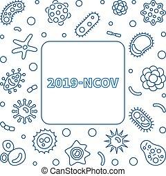 2019-ncov, vector, estilo, lineal, simple, marco, concepto