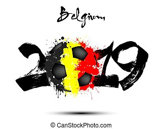 2019 New Year and a soccer ball as flag Belgium