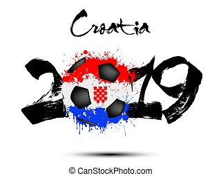 2019 New Year and a soccer ball as flag Croatia