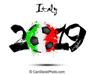 2019 New Year and a soccer ball as flag Italy