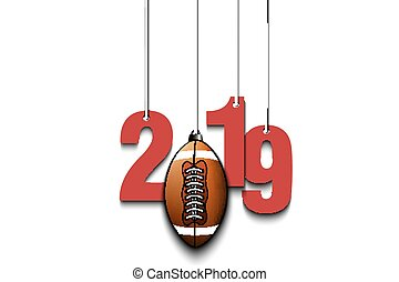 2019 New Year and football ball hanging on strings