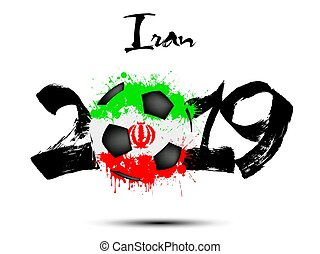 2019 New Year and soccer ball as flag Iran