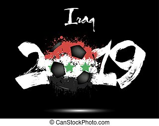 2019 New Year and soccer ball as flag Iraq