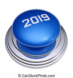 2019 New Year blue button isolated