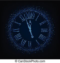 2019 New Year card with classic clock on blue background