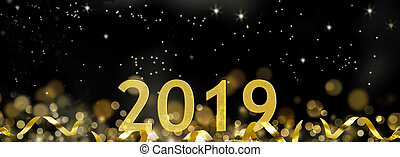 golden 2019 in ribbon and on abstract night background