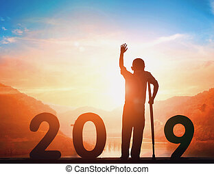 2019 New Year concept: 2019 at sunset background