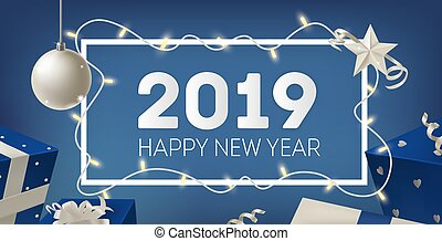 2019 New Year festive banner template with border decorated by glowing light garland, silver bauble, star and gifts on blue background. Elegant realistic vector illustration for holiday celebration.