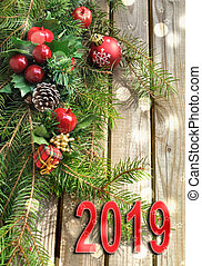 2019 new year in  Christmas decoration