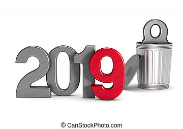 2019 new year. Isolated 3D illustration