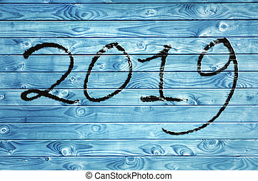 2019 new year on blue panel