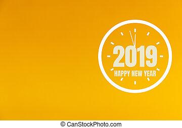 2019 New Year on orange background.
