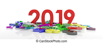 2019 New year. Red 2019 figures and colorful numbers heap isolated on white background, banner. 3d illustration