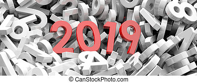 2019 New year. Red 2019 figures on white numbers background, banner. 3d illustration