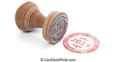 2019 New year red round stamp isolated on white background. 3d illustration