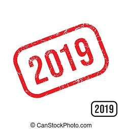 2019 New year rubber stamp with grunge texture design
