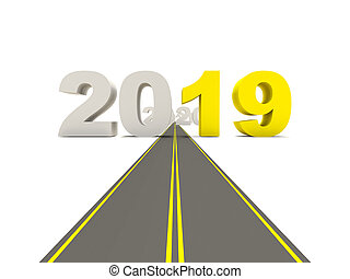 2019 New year sign on a road