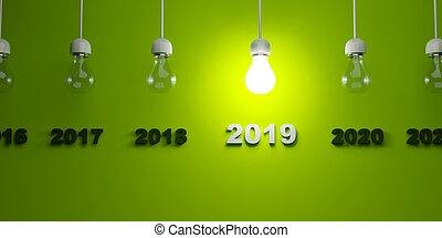2019 New Year sign under light bulbs