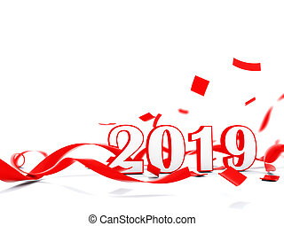 2019 New Year sign with present isolated on white